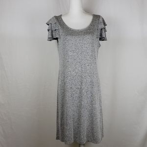 Ann taylor Loft large gray ruffle dress